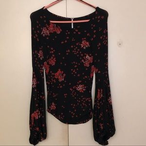 NWT free people cherry blossom bell sleeve top